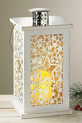 White Large  Hanging Wooden Star Lantern With Flickering Pre Lit Candle Inside