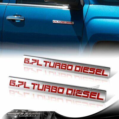 2 PC TEAL//CHROME 6.7 TURBO DIESEL MOTOR BADGE FOR TRUNK HOOD DOOR TAILGATE B