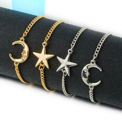 New Adjustable Silver Gold Star&Moon Bracelet Charm Jewellery Women Ladies Gifts