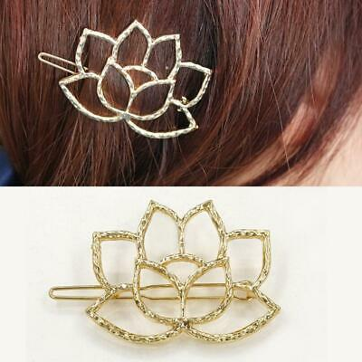Women's Girls Lady Gold Lotus Hair Clips Barrette Slide Grips Hair Clip Hairpins