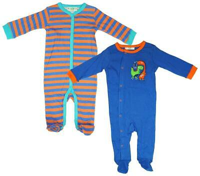 Boys Baby PACK of 2 Cool Club Dinosaur Sleepsuit Rompers Newborn to 9 Months