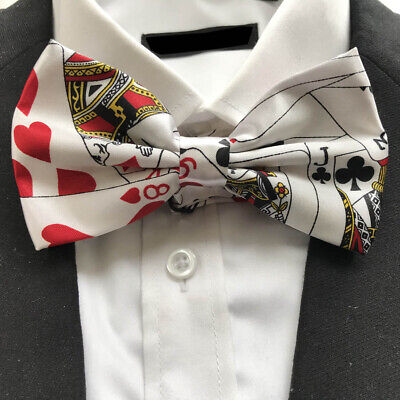 Unisex Fancy Dress White Playing Card Pattern Poker Novelty Bow Tie Brand New