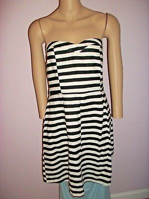 1eecb499182 HAE Dress Size Large Strapless 55% Linen Black and White Striped Pleated