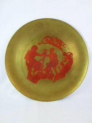 Vintage Finzi Oro Zecchino Italy Porcelain Red Gold Ceramic Charger Wall Plate