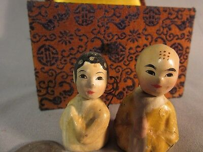 Pair of Antique Miniatures, Man & Woman, Early 1900s Chinese
