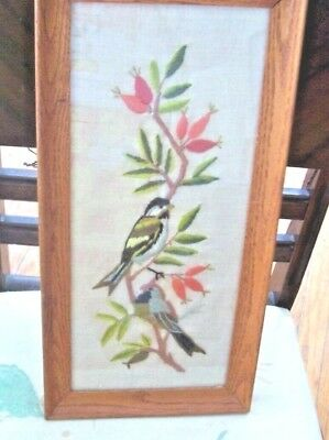 """Framed Vintage Crewel Embroidery Picture Bird on Flowering Branch 9"""" X 18"""""""