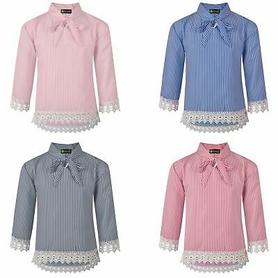 Girls Striped Pussy Bow Lace Hem Blouse Contrast Details Teens Tunic Top 3-14 Y