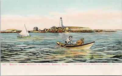 Boston Light Entrance to Harbor Boston MA Boat Sail Unused Postcard D71