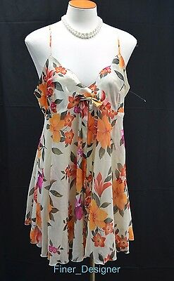 6aa5d7faeb1 VICTORIA S SECRET floral Babydoll Nightie Cami Sexy Sheer chemise gown SZ L  NEW