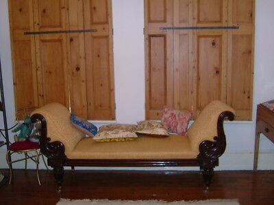 ANTIQUE REGENCY MAHOGANY DOUBLE SCROLL END CHAISE LONGUE - 1830's EXCELLENT COND