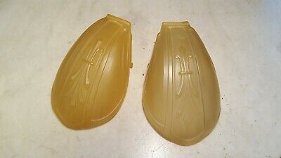 Antique Pair Deco Slip Shades Frosted Light Amber Matching Originals