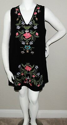 Umgee USA Embroidered Floral Tunic Shift Dress w/ Pockets Black Plus XL 1XL New!