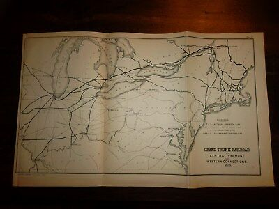 2 RAILROAD MAPS  -  GRAND TRUNK - NEW YORK CENTRAL & HUDSON RIVER - 14 X 9 In