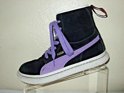 check out 74b86 9765f PUMA PURPLE & Black Suede High Top Lace Up Shoes Women's Size 8.5