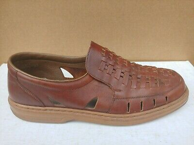 016fe2e329f Rieker Men s Brown Mahogany Leather Casual Woven Loafer Shoes US Size 11