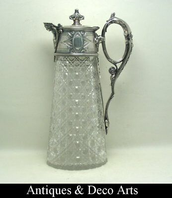 Superb Antique Claret Jug in Cut Crystal with Continental Silver? Mount
