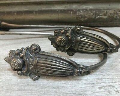 Pair Large Antique French Chrome Plated Brass Swing Curtain Tie Hold Backs