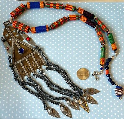 19thC Antique Necklace Tekke Turkoman Signd Silver Pendant Ethnographic Necklace
