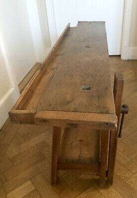 Antique French Pine Small Carpenter Industrial Work Bench Side Table Hall