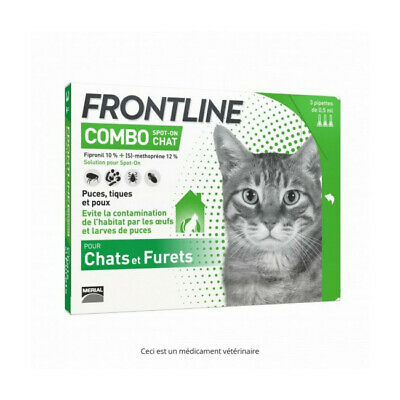 Frontline Combo Spot On soin antiparasitaire pour chats et furets Boîte 3 Pipett