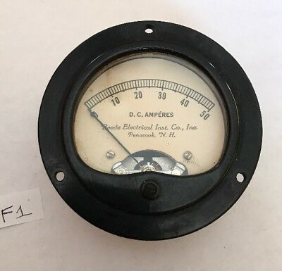 Vintage Beede Electrical Institute DC Amperes Gauge Meter Steampunk F1