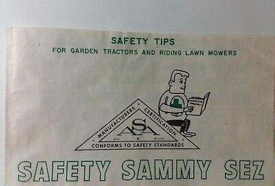 """OPEI ASA """"SAMMY SEZ"""" Safety Tips for Garden Tractors & Riding Lawn Mowers Manual"""