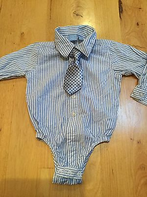 Boys Blue White Striped Button Up Dress Shirt & Tie Childrens Place 12-18 Months