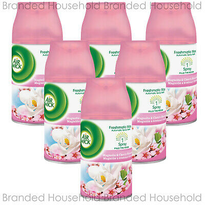 6 x AIR WICK FRESHMATIC AUTOMATIC REFILLS AIR FRESHENER MAGNOLIA & CHERRY 250ML