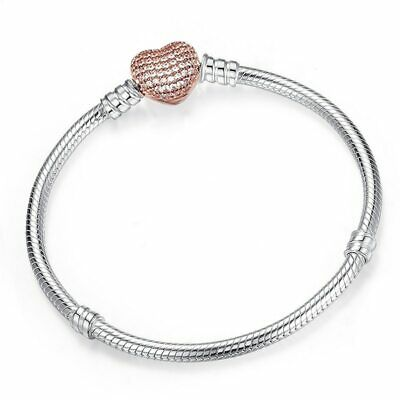 Authentic Pandora Silver Chain Bracelet with HEART CLASP Charm Snake 590718