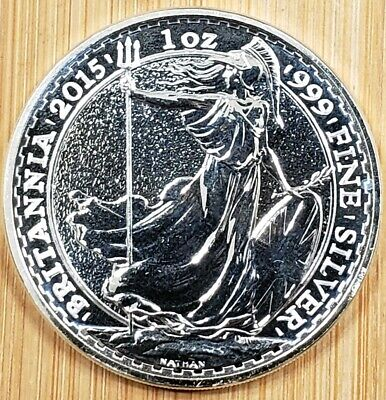 2015 GREAT BRITAIN 2 Pound Britannia .999 1 oz SILVER coin BU