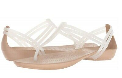 525867130e8c New Women Crocs Isabella T-Strap Oyster   Gold White Relaxed Fit Orig  202467-