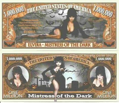 Elvira Mistress of the Dark Cassandra Peterson Million Dollar Bills x 2 Horror