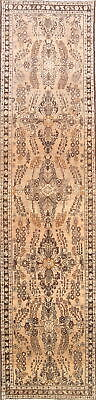 One-of-Kind Vintage Subtle Muted 13' Runner Hamedan Persian Beige 3x13 Wool Rug