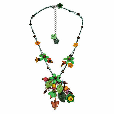 Sweet Festive Green Garden Leather Wood Glass Statement Necklace