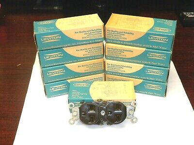 VTG Leviton 5028 DUPLEX RECEPTACLE BAKELITE 3 Wire Grounding 15A BROWN (LOT of 1