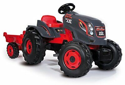 Tractor Stronger XXL rojo a pedales con remolque (Smoby 710200)
