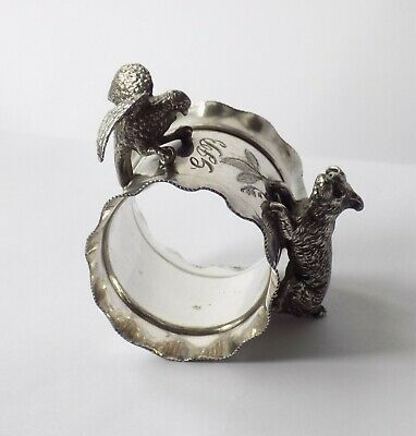 Antique Rogers Smith & Co Silver Plated Napkin Ring. Dog Chasing A Bird. Unusual