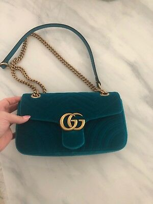d917b8c55c6f48 GUCCI** MARMONT GG Chain Shoulder Bag Blue Velvet Spring 2019 Best ...
