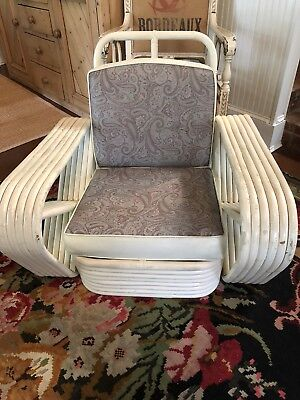 RARE Mid-Century~RATTAN PRETZEL CHAIR~6-Banded/Strand PAUL FRANKL Style~Vintage