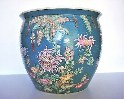 "20th Century Chinese Floral Porcelain Fish Bowl - 14.5"" Wide x 12"" High"