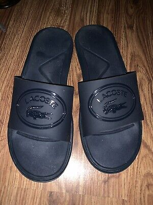69bbeee161b9 BRAND NEW Lacoste Fraisier BRD1 Dark Blue White Men s Sandals Slides Shoes  Sz8
