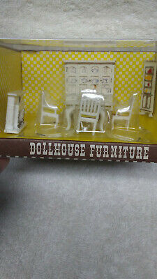 Doll House Dining Room Miniature Furniture Vintage Hong Kong 8 Piece