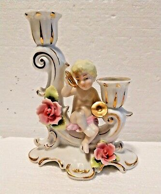Vintage Porcelain Cherub Candlestick holder w/floral & gold Japan