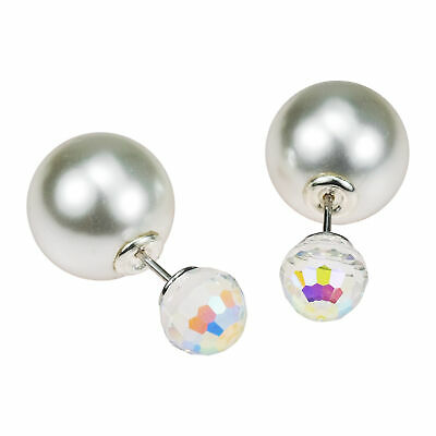 Rainbow Mirror Ball White Pearl .925 Silver Front Back Stud Earrings