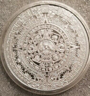5 oz .999 Silver Aztec Calendar Stone, Eagle Warrior Emperor of Tenochtitlan NEW