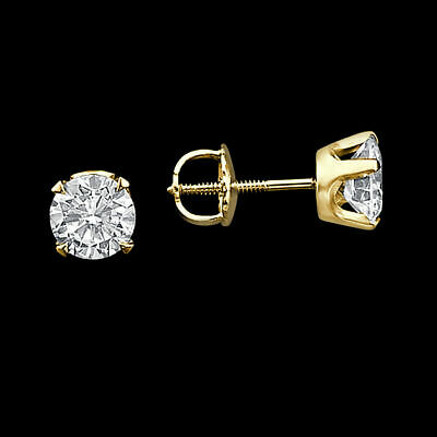 Enhanced Diamond Stud Earrings 2 CT Round Cut D/SI1 14K Yellow Gold Solitaire