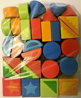 30 Pc Hand Painted Wooden Toy Building Blocks, Shapes with Designs -NO BOX