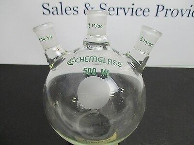 Chemglass 3 neck flask. Angled 14/20 joints. 500mL