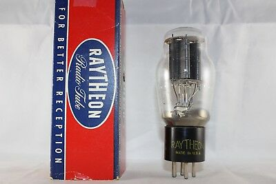 CLEAN 1948 Vintage Raytheon 2A3 BLACK Plate 2x Getter TESTS STRONG @ 92% NEW NOS