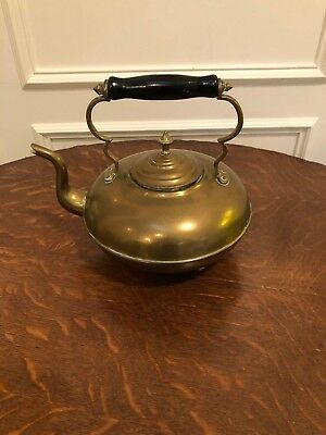 Antique Vintage English Victorian Brass Footed Tea Kettle Painted Wooden Handle